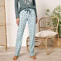 Blancheporte Pyžamové nohavice s potlačou kvetín, bavlna zelenkavá