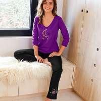 Blancheporte Pyžamové nohavice so stredovou potlačou čierna
