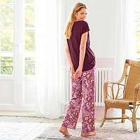 Blancheporte Pyžamové široké nohavice s potlačou purpurová/ružová