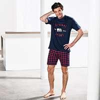 Blancheporte Pyžamové šortky s kockovaným vzorom nám.modrá/červená 68/70