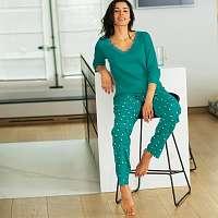 Blancheporte Pyžamové tričko s 3/4 rukávmi smaragdová