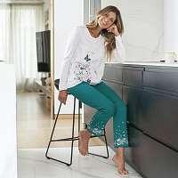 Blancheporte Pyžamové tričko s dlhými rukávmi a bočnou potlačou biela