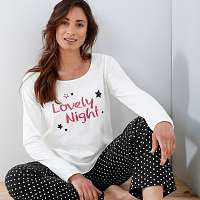 Blancheporte Pyžamové tričko s dlhými rukávmi a potlačou hviezd Lola slonová kosť