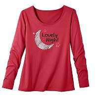 Blancheporte Pyžamové tričko s dlhými rukávmi a potlačou mesiaca Lola čerešňová