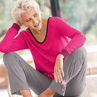 Blancheporte Pyžamové tričko s dlhými rukávmi, motív hviezdičkového dažďa fuksia