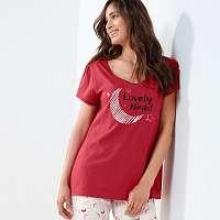 Blancheporte Pyžamové tričko s krátkymi rukávmi a potlačou Lola čerešňová
