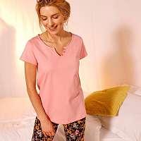 Blancheporte Pyžamové tričko s krátkymi rukávmi, jednofarebné ružové ružová