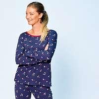 Blancheporte Pyžamové tričko s potlačou a dlhými rukávmi nám.modrá