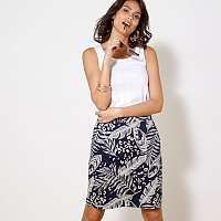 Blancheporte Rovná sukňa s potlačou nám.modrá/biela