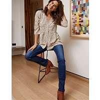 Blancheporte Rovné džínsy, koženkové detaily modrá