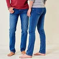 Blancheporte Rovné džínsy v zapratom vzhľade modrá