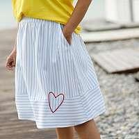Blancheporte Rozšírená pruhovaná sukňa biela/modrá