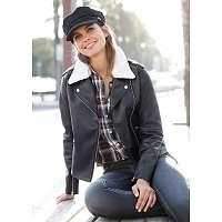 Blancheporte Sako s imitáciou kožušiny čierna