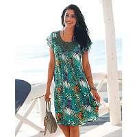 Blancheporte Šaty s tropickým vzorom, macramé výstrih smaragdová