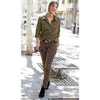 Blancheporte Skinny nohavice s leopardím vzorom gaštanová