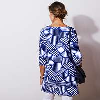 Blancheporte Tunika so zaviazaním, grafický dizajn modrá/biela