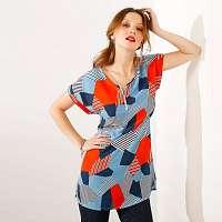 Blancheporte Tunika v geometrickom dizajne modrá/oranžová