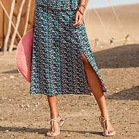 Blancheporte Úpletová sukňa s potlačou tyrkysová