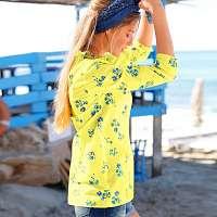 Blancheporte Volánová blúzka s potlačou kvetín kvety žltá/modrá
