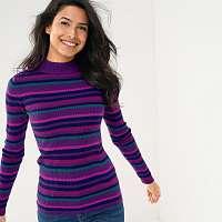Blancheporte Vrúbkovaný pulóver, pruhy purpurová/smaragdová