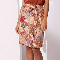 Blancheporte Vzdušná sukňa na gombíky, s potlačou papriková/bronzová