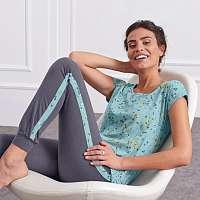 Blancheporte Vzdušné pyžamo s potlačou, športový dizajn modrá/sivá