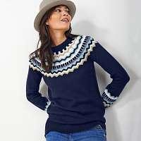Blancheporte Žakárový trblietavý pulóver temná modrá