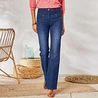 Blancheporte Zvonové džínsy, zapratý efekt, ekologické spracovanie tmavomodrá